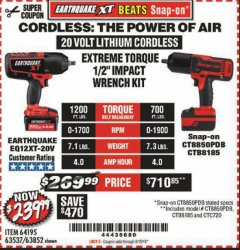 "Harbor Freight Coupon EXTREME TORQUE 1/2"" IMPACT WRENCH KIT Lot No. 63852 EXPIRES: 6/15/19 - $239.99"