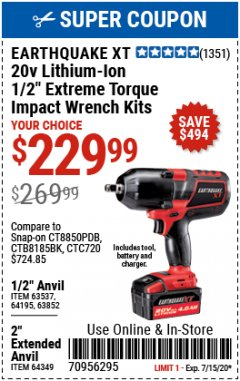 "Harbor Freight Coupon EXTREME TORQUE 1/2"" IMPACT WRENCH KIT Lot No. 63852 Valid Thru: 7/15/20 - $229.99"