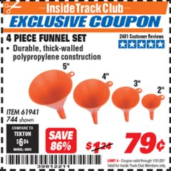 Harbor Freight ITC Coupon 4 PIECE FUNNEL SET Lot No. 744/61941 Expired: 1/31/20 - $0.79