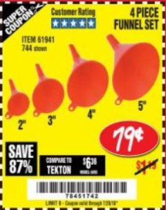 Harbor Freight Coupon 4 PIECE FUNNEL SET Lot No. 744/61941 Expired: 7/29/18 - $0.79