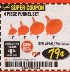 Harbor Freight Coupon 4 PIECE FUNNEL SET Lot No. 744/61941 Expired: 3/31/19 - $0.79