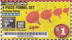 Harbor Freight Coupon 4 PIECE FUNNEL SET Lot No. 744/61941 Valid Thru: 10/23/19 - $1