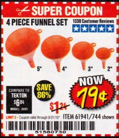 Harbor Freight Coupon 4 PIECE FUNNEL SET Lot No. 744/61941 Valid Thru: 8/31/19 - $0.79