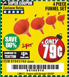 Harbor Freight Coupon 4 PIECE FUNNEL SET Lot No. 744/61941 Expired: 1/25/20 - $0.79