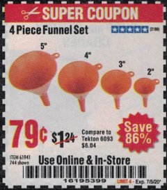 Harbor Freight Coupon 4 PIECE FUNNEL SET Lot No. 744/61941 Expired: 7/5/20 - $0.79