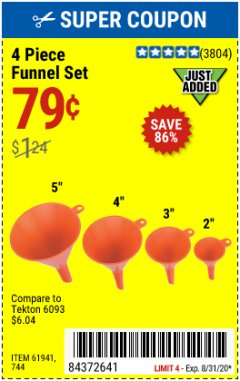 Harbor Freight Coupon 4 PIECE FUNNEL SET Lot No. 744/61941 Expired: 8/31/20 - $0.79