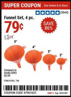 Harbor Freight Coupon 4 PIECE FUNNEL SET Lot No. 744/61941 Expired: 10/31/20 - $0.79