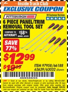 Harbor Freight ITC Coupon PANEL/TRIM REMOVAL TOOL SET 6 PC. Lot No. 63639/66188/63032 Dates Valid: 12/31/69 - 5/31/19 - $12.99