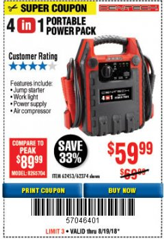Harbor Freight Coupon 4 IN 1 PORTABLE POWER PACK Lot No. 62453/62374 Expired: 8/19/18 - $59.99
