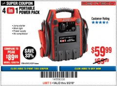 Harbor Freight Coupon 4 IN 1 PORTABLE POWER PACK Lot No. 62453/62374 Expired: 9/2/18 - $59.99