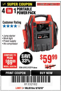 Harbor Freight Coupon 4 IN 1 PORTABLE POWER PACK Lot No. 62453/62374 Expired: 9/16/18 - $59.99