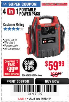 Harbor Freight Coupon 4 IN 1 PORTABLE POWER PACK Lot No. 62453/62374 Expired: 11/18/18 - $59.99