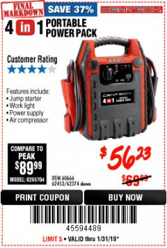 Harbor Freight Coupon 4 IN 1 PORTABLE POWER PACK Lot No. 62453/62374 Expired: 1/31/19 - $56.23