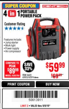 Harbor Freight Coupon 4 IN 1 PORTABLE POWER PACK Lot No. 62453/62374 Expired: 9/9/19 - $59.99