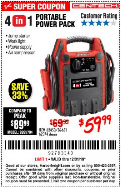 Harbor Freight Coupon 4 IN 1 PORTABLE POWER PACK Lot No. 62453/62374 Expired: 12/31/19 - $59.99