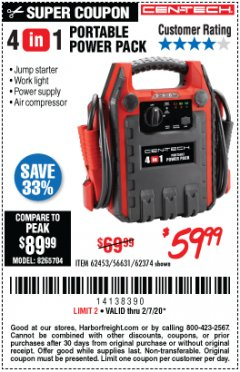 Harbor Freight Coupon 4 IN 1 PORTABLE POWER PACK Lot No. 62453/62374 Expired: 2/7/20 - $59.99