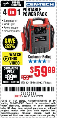 Harbor Freight Coupon 4 IN 1 PORTABLE POWER PACK Lot No. 62453/62374 Expired: 1/26/20 - $59.99