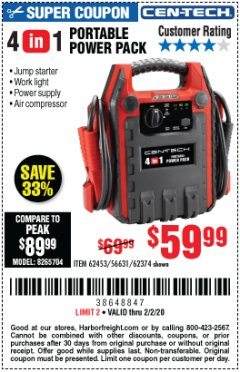 Harbor Freight Coupon 4 IN 1 PORTABLE POWER PACK Lot No. 62453/62374 Expired: 2/2/20 - $59.99