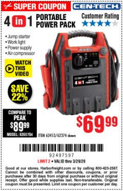 Harbor Freight Coupon 4 IN 1 PORTABLE POWER PACK Lot No. 62453/62374 Expired: 3/29/20 - $69.99