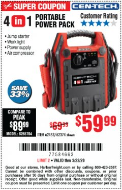 Harbor Freight Coupon 4 IN 1 PORTABLE POWER PACK Lot No. 62453/62374 Expired: 3/22/20 - $59.99