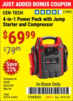 Harbor Freight Coupon 4 IN 1 PORTABLE POWER PACK Lot No. 62453/62374 Expired: 10/31/20 - $69.99