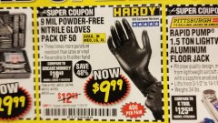 Harbor Freight Coupon POWDER-FREE NITRILE GLOVES PACK OF 50 Lot No. 68510/61742/68511/61744/68512/61743 Expired: 11/30/18 - $9.99