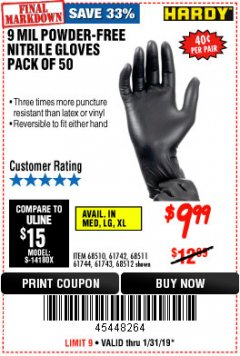 Harbor Freight Coupon POWDER-FREE NITRILE GLOVES PACK OF 50 Lot No. 68510/61742/68511/61744/68512/61743 Expired: 1/31/19 - $9.99