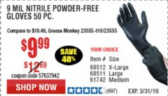 Harbor Freight Coupon POWDER-FREE NITRILE GLOVES PACK OF 50 Lot No. 68510/61742/68511/61744/68512/61743 Expired: 3/31/19 - $9.99