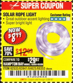 Harbor Freight Coupon SOLAR ROPE LIGHT Lot No. 68353/62533/63941/64625 Expired: 12/20/18 - $8.99