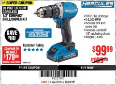 "Harbor Freight Coupon BAUER 20 VOLT LITHIUM CORDLESS 1/2"" COMPACT DRILL/DRIVER KIT Lot No. 64754/63531 Expired: 10/28/18 - $99.99"