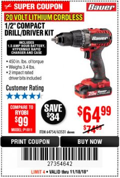 "Harbor Freight Coupon BAUER 20 VOLT LITHIUM CORDLESS 1/2"" COMPACT DRILL/DRIVER KIT Lot No. 64754/63531 Expired: 11/18/18 - $64.99"