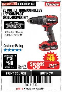 "Harbor Freight Coupon BAUER 20 VOLT LITHIUM CORDLESS 1/2"" COMPACT DRILL/DRIVER KIT Lot No. 64754/63531 Expired: 12/2/18 - $58.99"