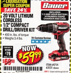 "Harbor Freight Coupon BAUER 20 VOLT LITHIUM CORDLESS 1/2"" COMPACT DRILL/DRIVER KIT Lot No. 64754/63531 EXPIRES: 5/31/19 - $59.99"