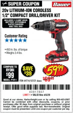 "Harbor Freight Coupon BAUER 20 VOLT LITHIUM CORDLESS 1/2"" COMPACT DRILL/DRIVER KIT Lot No. 64754/63531 Valid Thru: 6/30/20 - $59.99"