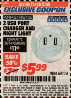 Harbor Freight ITC Coupon 2 USB PORT CHARGER AND NIGHT LIGHT Lot No. 64114 Valid Thru: 7/31/19 - $5.99