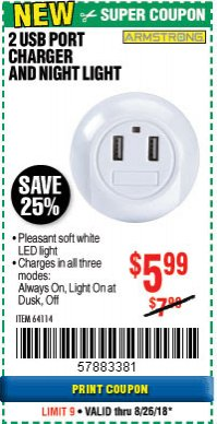 Harbor Freight Coupon 2 USB PORT CHARGER AND NIGHT LIGHT Lot No. 64114 Expired: 8/26/18 - $5.99