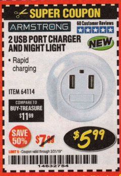 Harbor Freight Coupon 2 USB PORT CHARGER AND NIGHT LIGHT Lot No. 64114 Expired: 3/31/19 - $5.99