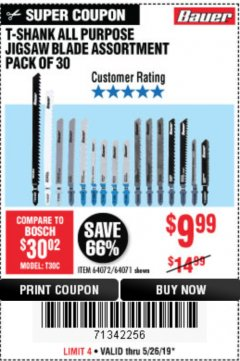 Harbor Freight Coupon 30 PIECE T-SHANK ALL PURPOSE JIGSAW BLADE ASSORTMENT Lot No. 64072/64071 EXPIRES: 5/26/19 - $9.99