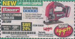 Harbor Freight Coupon 20 VOLT LITHIUM CORDLESS JIG SAW Lot No. 63630 Expired: 4/13/19 - $44.99