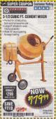 Harbor Freight Coupon 3-1/2 CUBIC FT. CEMENT MIXER Lot No. 67536/61932 Expired: 4/30/18 - $179.99