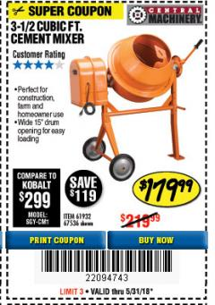 Harbor Freight Coupon 3-1/2 CUBIC FT. CEMENT MIXER Lot No. 67536/61932 Expired: 5/31/18 - $179.99