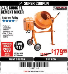 Harbor Freight Coupon 3-1/2 CUBIC FT. CEMENT MIXER Lot No. 67536/61932 Expired: 10/7/18 - $179.99