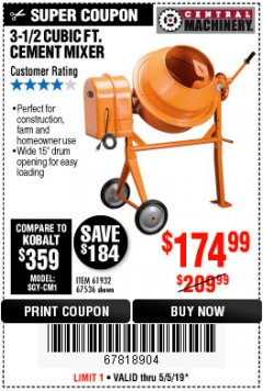 Harbor Freight Coupon 3-1/2 CUBIC FT. CEMENT MIXER Lot No. 67536/61932 Expired: 5/5/19 - $174.99