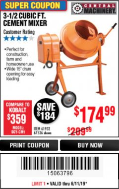 Harbor Freight Coupon 3-1/2 CUBIC FT. CEMENT MIXER Lot No. 67536/61932 Expired: 6/11/19 - $174.99