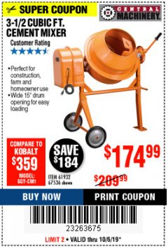 Harbor Freight Coupon 3-1/2 CUBIC FT. CEMENT MIXER Lot No. 67536/61932 Expired: 10/6/19 - $174.99