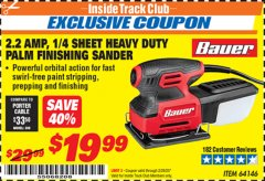 Harbor Freight ITC Coupon 2.2 AMP 1/4 SHEET HEAVY DUTY PALM FINISHING SANDER Lot No. 64146 Expired: 2/29/20 - $19.99