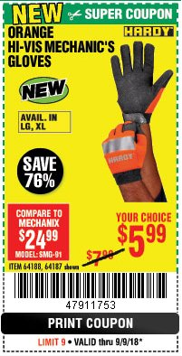 Harbor Freight Coupon HI-VIS MECHANIC'S GLOVES ORANGE/YELLOW Lot No. 64188/64187/64185/64186 Expired: 9/9/18 - $5.99