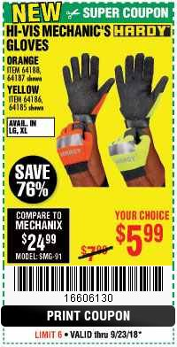 Harbor Freight Coupon HI-VIS MECHANIC'S GLOVES ORANGE/YELLOW Lot No. 64188/64187/64185/64186 Expired: 9/23/18 - $5.99