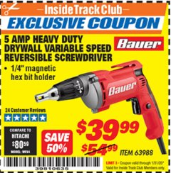Harbor Freight ITC Coupon HEAVY DUTY DRYWALL VARIABLE SPEED REVERSIBLE SCREWDRIVER Lot No. 63988 Expired: 1/31/20 - $39.99
