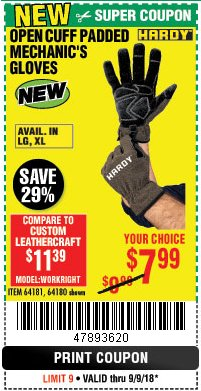Harbor Freight Coupon OPEN CUFF PADDED MECHANIC'S GLOVES Lot No. 64181/64180 Expired: 9/9/18 - $7.99